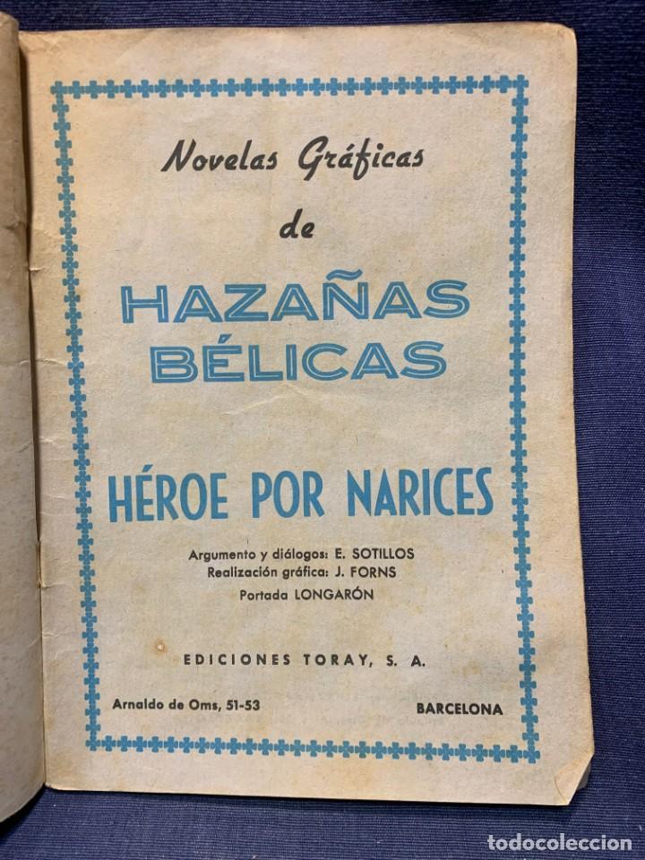 Tebeos: COMIC HAZAÑAS BELICAS ED. TORAY BARCELONA 1966 HEROE POR NARICES PUBLIC JOVENES 21X15 - Foto 4 - 213560426