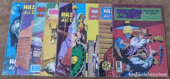 HAZAÑAS DEL OESTE Nº 15, 24, 27, 35, 40, 125, 163, 239 Y 243 (TORAY 1962) 9 TEBEOS. (Tebeos y Comics - Toray - Hazañas del Oeste)