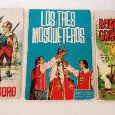 Tebeos: LOTE TORAY 1963 Y 1965 LA ISLA DEL TESORO LOS TRES MOSQUETEROS ROBINSON CRUSOE 12 PESETAS. Lote 215672676