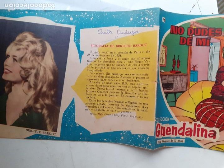 Tebeos: GUENDALINA- Nº 74 -NO DUDES DE MI-1960-GRAN JUANA BAÑOLAS-BRIGITTE BARDOT-MUY DIFÍCIL-LEAN-3736 - Foto 3 - 218080898