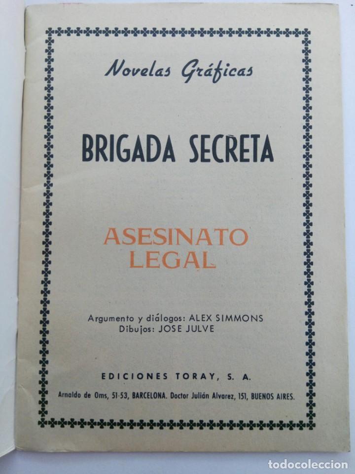 Tebeos: BRIGRADA SECRETA - ASESINATO LEGAL - EDICIONES TORAY - Foto 2 - 223237487