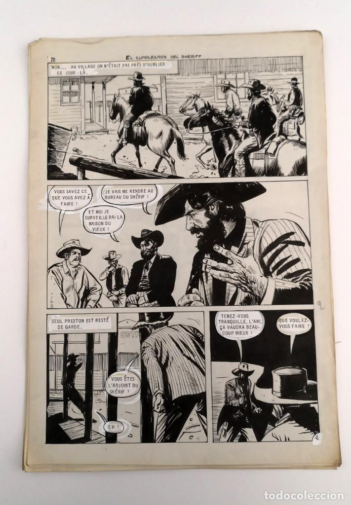 Tebeos: DIBUJOS ORIGINALES HAZAÑAS DEL OESTE, 1962. EDITORIAL TORAY. 8 PÁGINAS, COMPLETO. ANTONIO PÉREZ - Foto 2 - 223496246