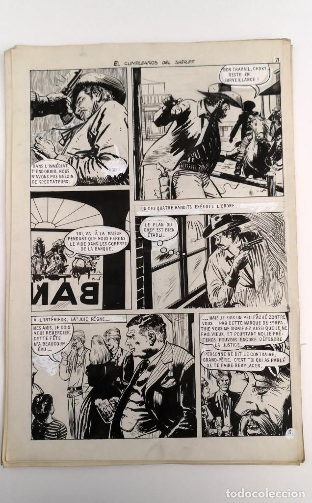 Tebeos: DIBUJOS ORIGINALES HAZAÑAS DEL OESTE, 1962. EDITORIAL TORAY. 8 PÁGINAS, COMPLETO. ANTONIO PÉREZ - Foto 3 - 223496246