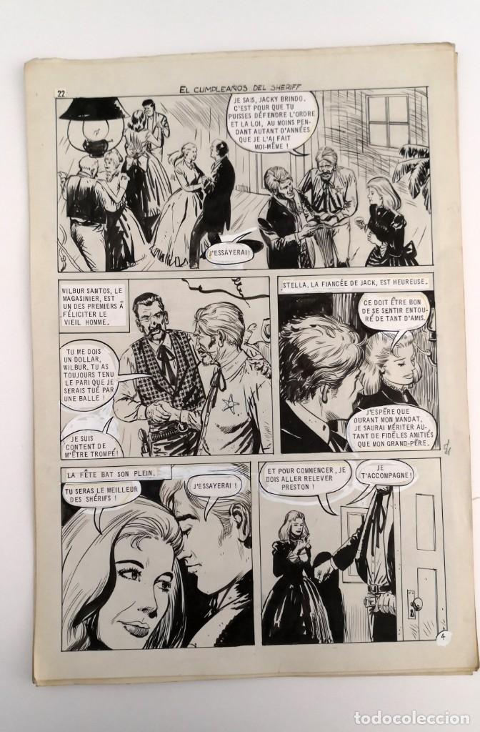Tebeos: DIBUJOS ORIGINALES HAZAÑAS DEL OESTE, 1962. EDITORIAL TORAY. 8 PÁGINAS, COMPLETO. ANTONIO PÉREZ - Foto 4 - 223496246