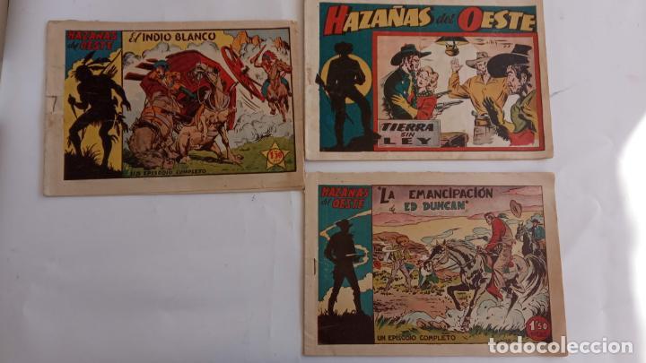 HAZAÑAS DEL OESTE ORIGINALES NºS - 3,7,9 - EDI, TORAY 1950 - BADÍA, DARNÍS, LONGARÓN DIBUJOS (Tebeos y Comics - Toray - Hazañas del Oeste)
