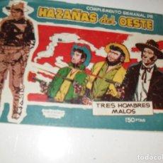 Tebeos: COMPLEMENTO SEMANAL HAZAÑAS DEL OESTE.3 HOMBRES MALOS.EDICIONES TORAY,AÑO 1959.ORIGINAL.DIFICIL.. Lote 295911858
