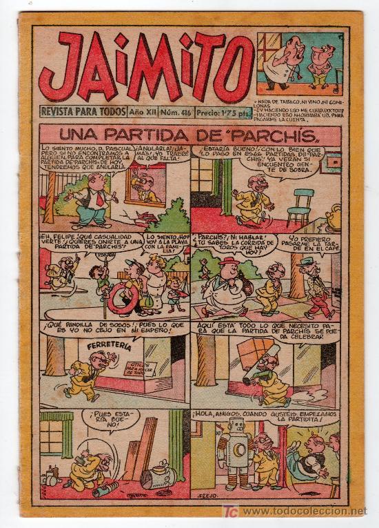 JAIMITO REVISTA PARA TODOS.Nº 416. AÑO XII. 28 SEPTIEMBRE 1957. EDITORIAL VALENCIANA. (Tebeos y Comics - Valenciana - Jaimito)