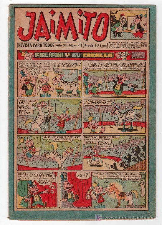 JAIMITO REVISTA PARA TODOS.Nº 419. AÑO XII. 19 OCTUBRE 1957. EDITORIAL VALENCIANA. (Tebeos y Comics - Valenciana - Jaimito)