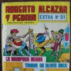 Tebeos: ROBERTO ALCÁZAR Y PEDRÍN. EXTRA Nº 51. LA MARIPOSA NEGRA. TERROR EN OLIVER ROCK. 1980.. Lote 34320647