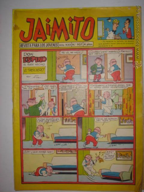 JAIMITO. Nº907. DON ESPINO/MISTER TROLA...1977. MIDE: 26,5 X 18,3 CMS. (Tebeos y Comics - Valenciana - Jaimito)