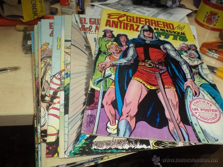 LOTE GUERRERO DEL ANTIFAZ-16 NÚMEROS DE 2 PTAS Y ALMANAQUE 1973 CON POSTER. (Tebeos y Comics - Valenciana - Guerrero del Antifaz)