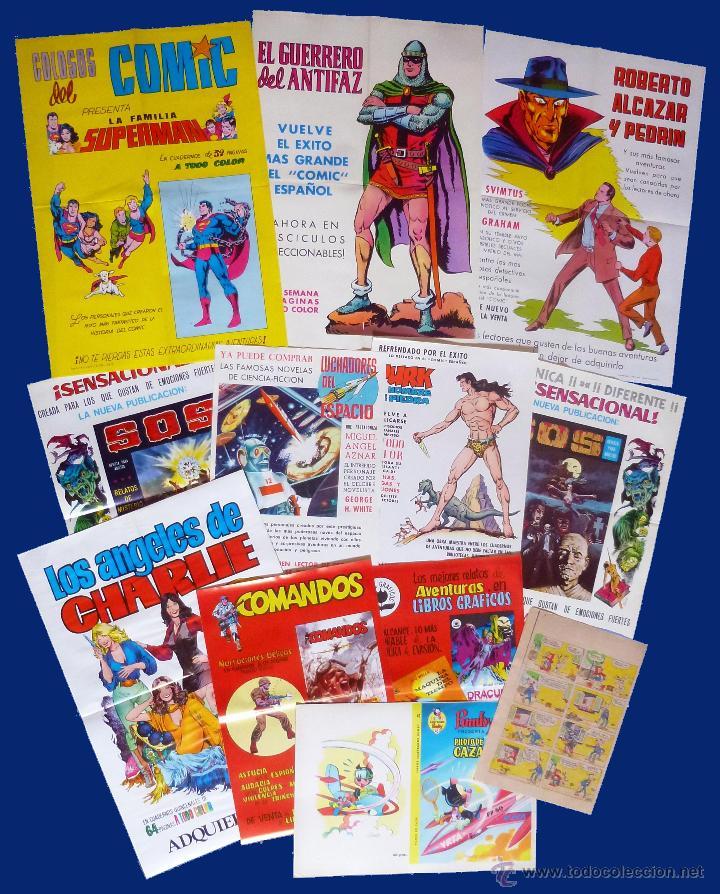 LOTE DE 10+2 CARTELES ED. VALENCIANA GUERRERO ANTIFAZ R. ALCAZAR LUCHADORES ESPACIO SUPERMAN OFRT (Tebeos y Comics - Valenciana - Otros)