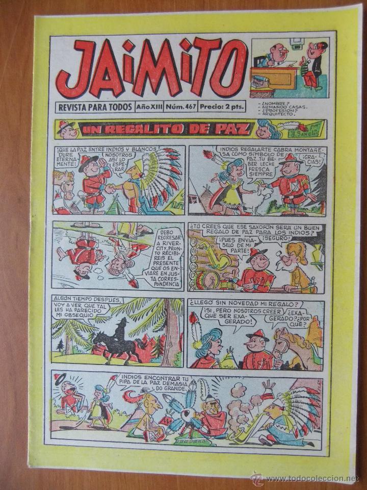 JAIMITO Nº 467 EDITORIAL VALENCIANA MAGNIFICO ESTADO (Tebeos y Comics - Valenciana - Jaimito)
