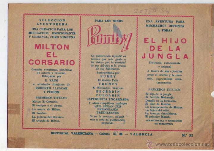 Tebeos: El Hijo de la Jungla nº 31. Valenciana 1956. - Foto 2 - 23789534