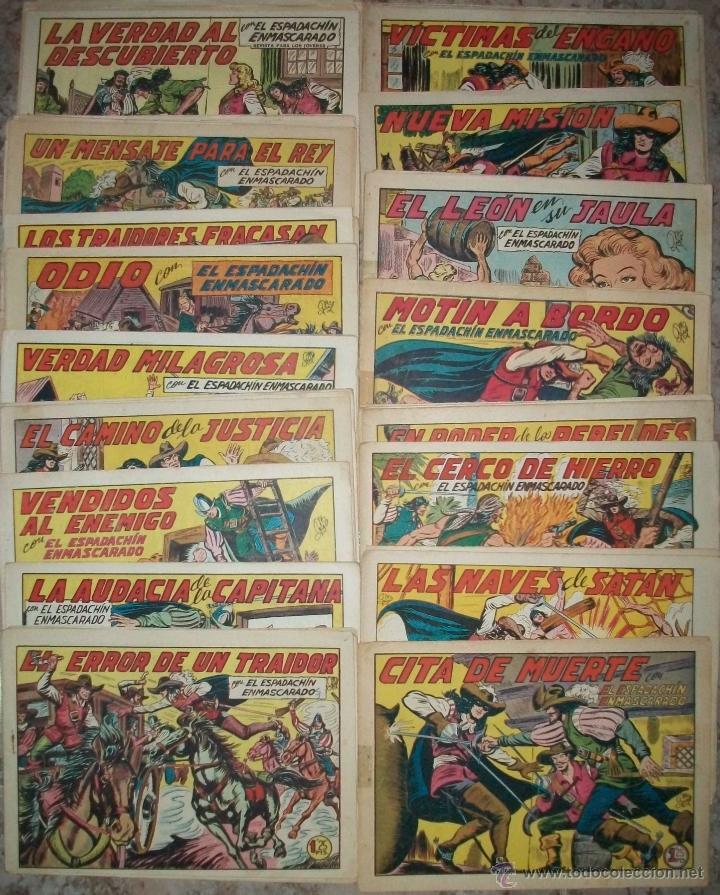 EL ESPADACHIN ENMASCARADO (VALENCIANA) (LOTE DE 61 NUMEROS DIFERENTES) (Tebeos y Comics - Valenciana - Espadachín Enmascarado)