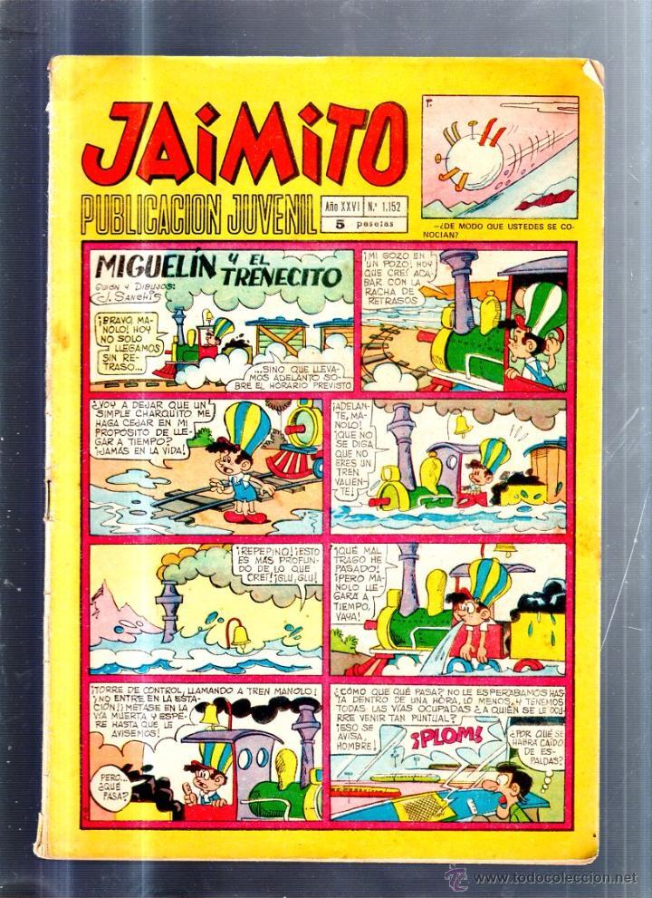 PUBLICACION JUVENIL JAIMITO. AÑO XXVI. Nº 1152. EDITORIAL VALENCIANA (Tebeos y Comics - Valenciana - Jaimito)