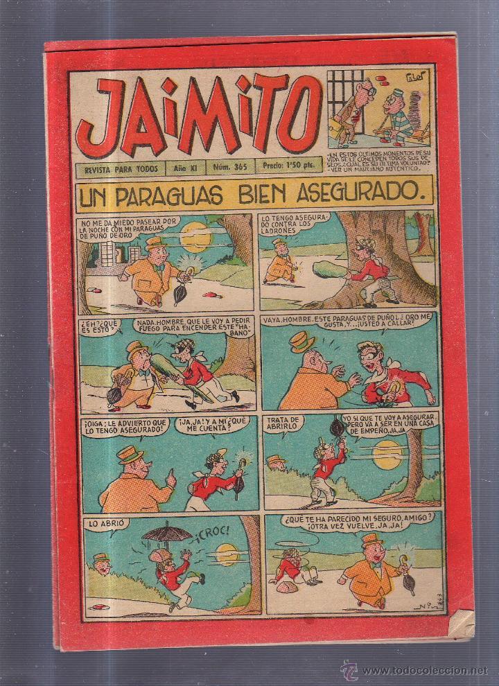 TEBEO JAIMITO. REVISTA PARA TODOS. Nº 365. UN PARAGUAS BIEN ASEGURADO (Tebeos y Comics - Valenciana - Jaimito)