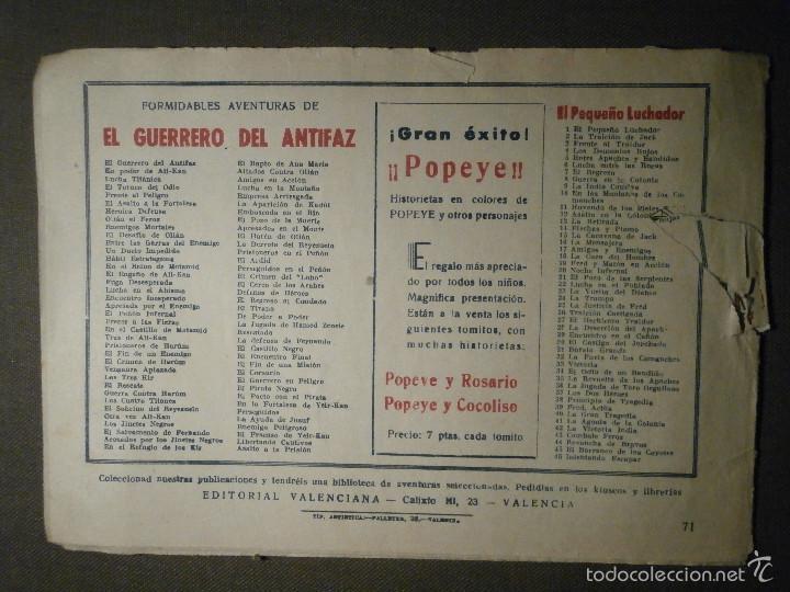 Tebeos: TEBEO - COMIC - EL GUERRERO DEL ANTIFAZ - ENEMIGO PELIGROSO - VALENCIANA - Nº 71 - ORIGINAL - - Foto 2 - 58600907