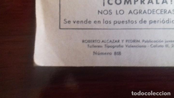 Tebeos: COMIC ROBERTO ALCAZAR Y PEDRIN Nº 818. ORIGINAL VALENCIANA. AÑO 1968. - Foto 2 - 107008979
