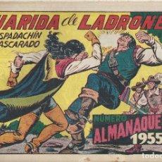 Tebeos: ESPADACHÍN ENMASCARADO, EL Nº 139 ALMANAQUE 1955. GUARIDA DE LADRONES. MANUEL GAGO. ED. VALENCIANA. Lote 109994955