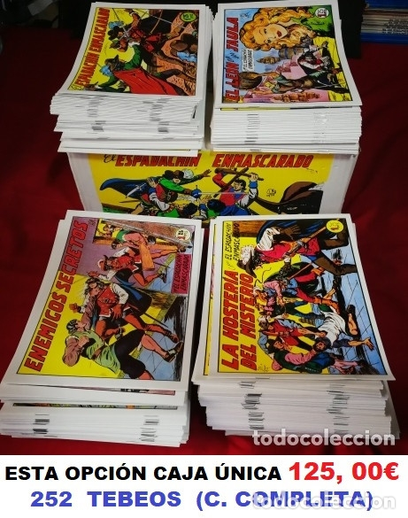 EL ESPADACHÍN ENMASCARADO, COLECCIÓN COMPLETA 252 TEBEOS. (VER TODAS LAS FOTOS Y TEXTO) (Tebeos y Comics - Valenciana - Espadachín Enmascarado)