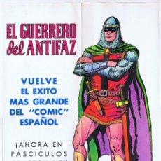 Tebeos: POSTER CARTEL EL GUERRERO DEL ANTIFAZ (GAGO) VALENCIANA, 1972. ORIGINAL. 37,5X54 CM.. OFRT. Lote 151539233