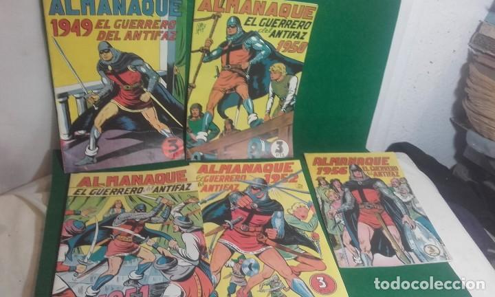 LOTE DE 5 ALMANAQUES DEL GUERRERO DEL ANTIFAZ- REEDICCION 1980 (Tebeos y Comics - Valenciana - Guerrero del Antifaz)