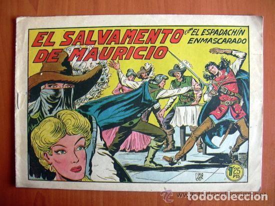 EL ESPADACHIN ENMASCARADO, Nº 212, EL SALVAMENTO DE MAURICIO - EDITORIAL VALENCIANA 1952 (Tebeos y Comics - Valenciana - Espadachín Enmascarado)
