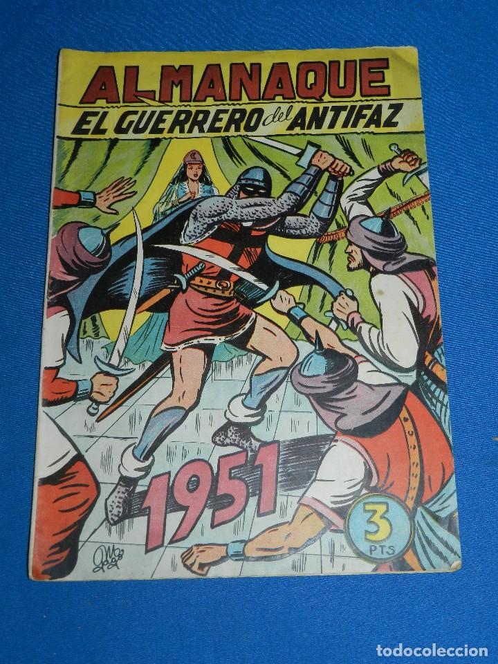(M7) EL GUERRERO DEL ANTIFAZ ALMANAQUE 1951 , EDT VALENCIANA , SEÑALES DE USO (Tebeos y Comics - Valenciana - Guerrero del Antifaz)