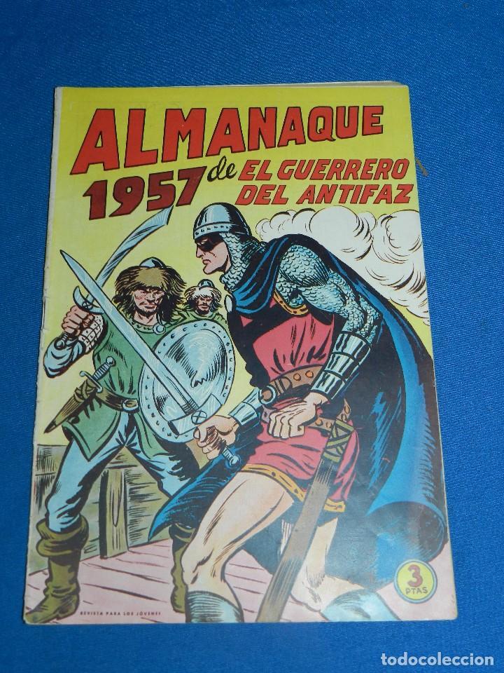 (M7) EL GUERRERO DEL ANTIFAZ ALMANAQUE 1957 , EDT VALENCIANA , SEÑALES DE USO (Tebeos y Comics - Valenciana - Guerrero del Antifaz)