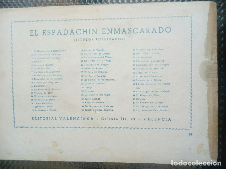 Tebeos: EL ESPADACHIN ENMASCARADO Nº 54 - ORIGINAL - EDT. VALENCIANA 1955 (M-5) - Foto 2 - 131784030