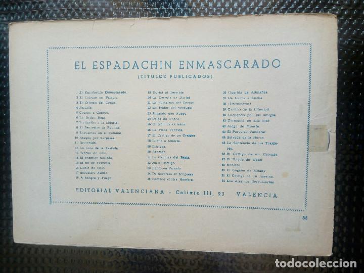 Tebeos: EL ESPADACHIN ENMASCARADO Nº 55 - ORIGINAL - EDT. VALENCIANA 1955 (M-5) - Foto 2 - 131785838