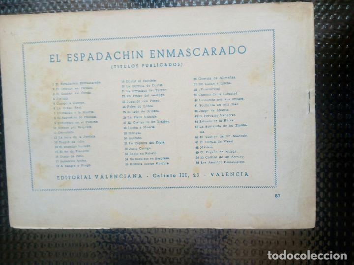 Tebeos: EL ESPADACHIN ENMASCARADO Nº 57 - ORIGINAL - EDT. VALENCIANA 1955 (M-5) - Foto 2 - 131811522