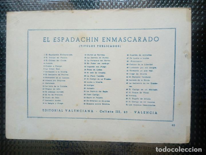 Tebeos: EL ESPADACHIN ENMASCARADO Nº 63 - ORIGINAL - EDT. VALENCIANA 1955 (M-5) - Foto 2 - 131817266
