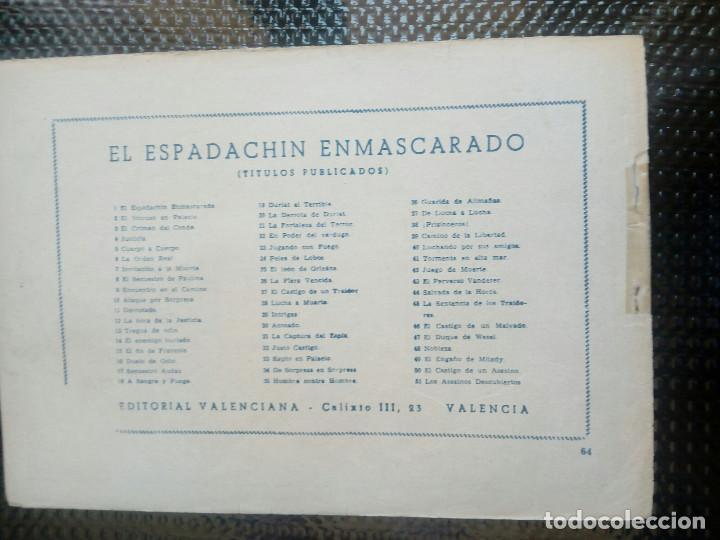Tebeos: EL ESPADACHIN ENMASCARADO Nº 64 - ORIGINAL - EDT. VALENCIANA 1955 (M-5) - Foto 2 - 131818510