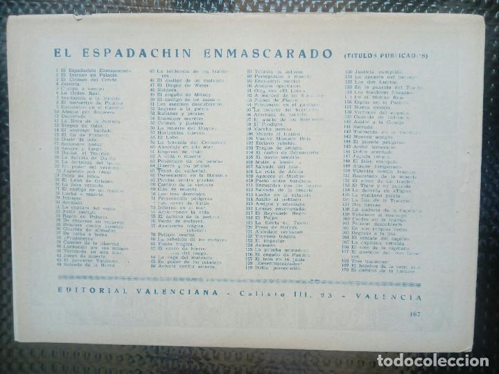 Tebeos: EL ESPADACHIN ENMASCARADO Nº 167 - ORIGINAL - EDT. VALENCIANA 1955 (M-5) - Foto 2 - 131823614