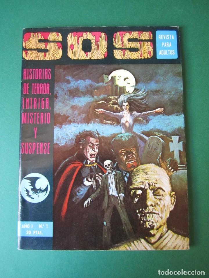 SOS (1975, EDIVAL) 1 · 22-II-1975 · S O S. HISTORIAS DE TERROR, INTRIGA, MISTERIO Y SUSPENSE (Tebeos y Comics - Valenciana - S.O.S)