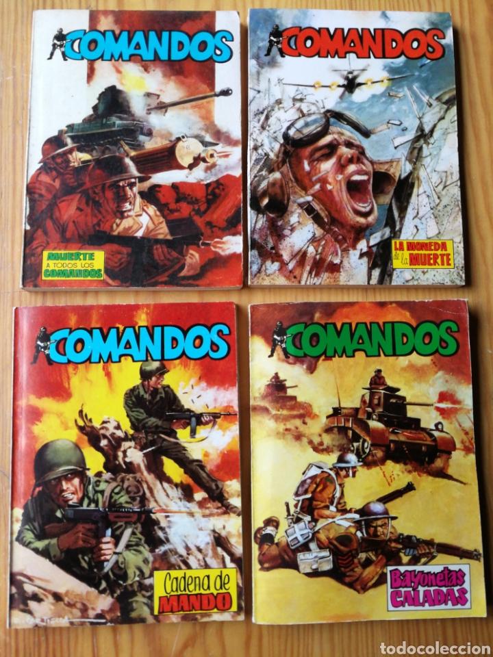 LOTE COMANDOS (NOVELAS BÉLICAS) N°1-2-3-4. EDITORA VALENCIANA, 1981.DIFÍCIL!. (Tebeos y Comics - Valenciana - Otros)