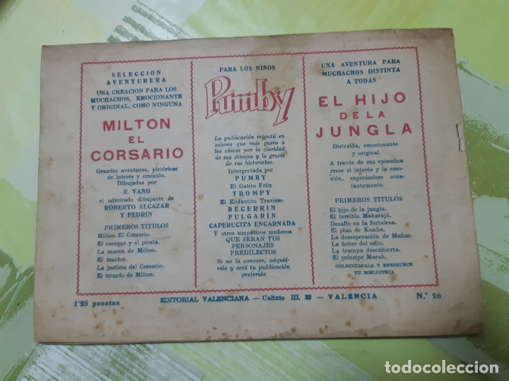 Tebeos: TEBEOS-COMICS CANDY - EL HIJO DE LA JUNGLA - Nº 26 - VALENCIANA 1956 - ORIGINAL *AA98 - Foto 2 - 167372296