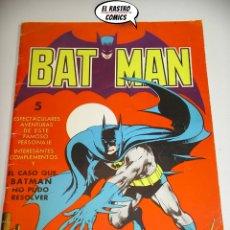 Tebeos: BATMAN, EL CASO QUE BATMAN NO PUDO RESOLVER, ED. VALENCIANA AÑO 1976, A5. Lote 179334393