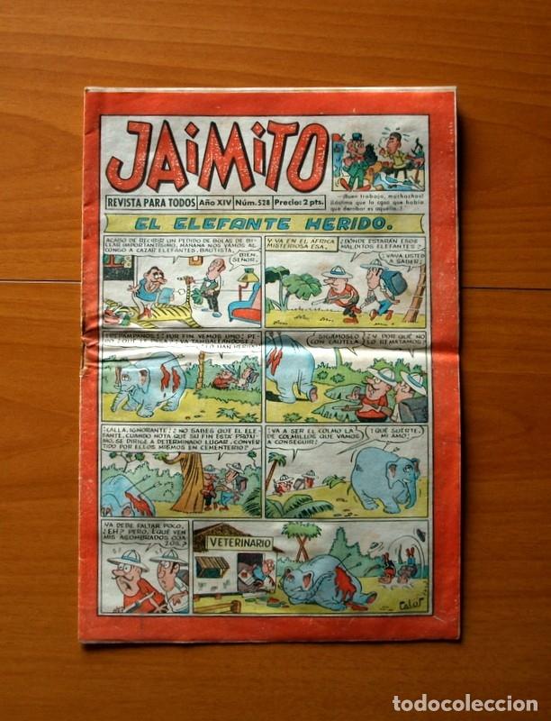 JAIMITO, Nº 528, EL ELEFANTE HERIDO - EDITORIAL VALENCIANA 1945 (Tebeos y Comics - Valenciana - Jaimito)