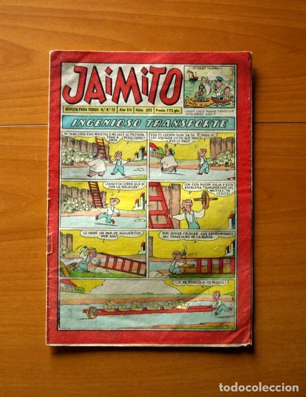 JAIMITO, Nº 392, INGENIOSO TRANSPORTE - EDITORIAL VALENCIANA 1945 (Tebeos y Comics - Valenciana - Jaimito)