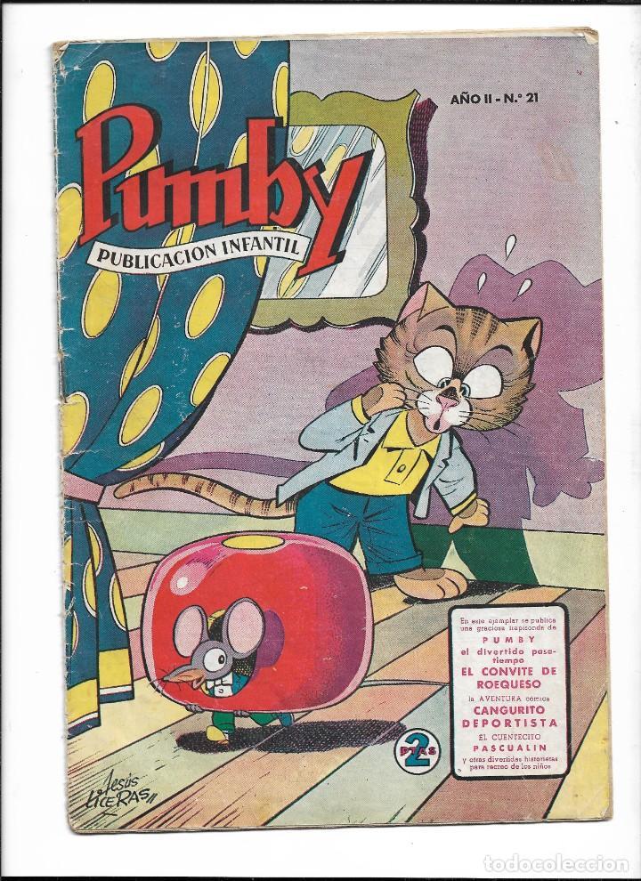 PUMBY, AÑO 1956 Nº 21. ES ORIGINAL Y DIFICIL DE VER DIBUJANTES, J. LICERAS, J. SANCHIS, PALOP. KARPA (Tebeos y Comics - Valenciana - Pumby)