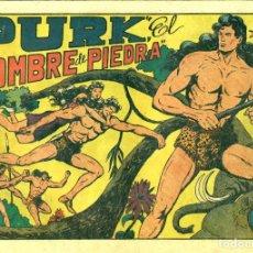 Tebeos: PURK, EL HOMBRE DE PIEDRA (VALENCIANA, 1949) DE MANUEL GAGO. NÚMEROS 1 AL 50. MUY BUEN ESTADO.. Lote 188009463