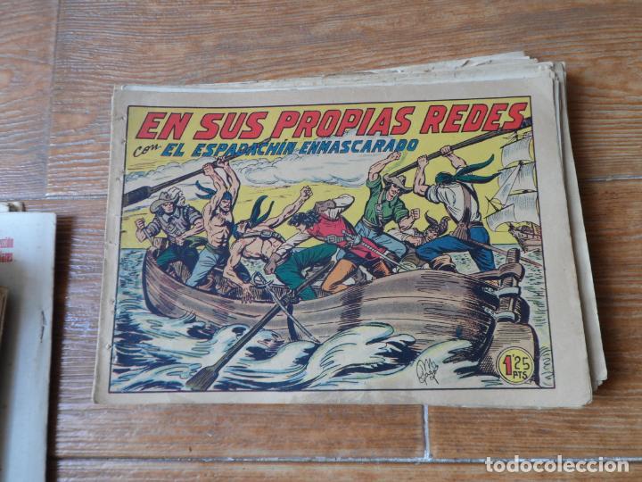 Tebeos: EL ESPADACHIN ENMASCARADO COLECCION COMPLETA VALENCIANA 1952 ORIGINAL 252 NUMEROS A FALTA DE 12 - Foto 7 - 191628047