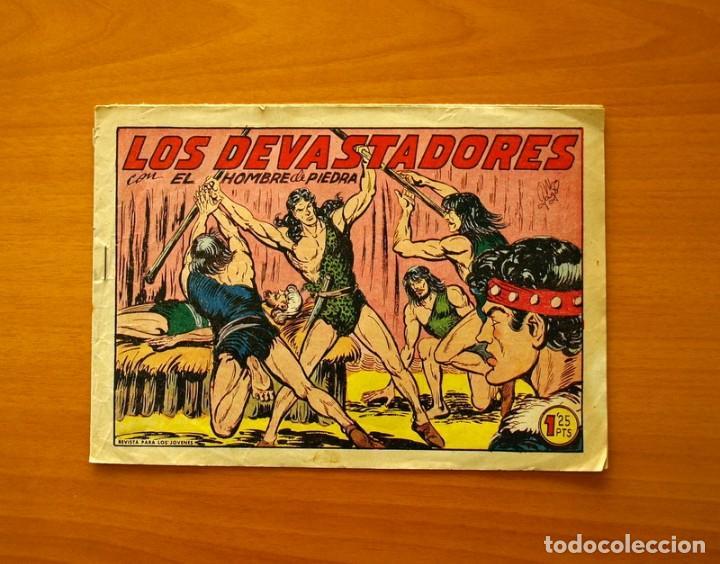 EL HOMBRE DE PIEDRA - Nº 198, LOS DEVASTADORES - EDITORIAL VALENCIANA 1950 (Tebeos y Comics - Valenciana - Purk, el Hombre de Piedra)
