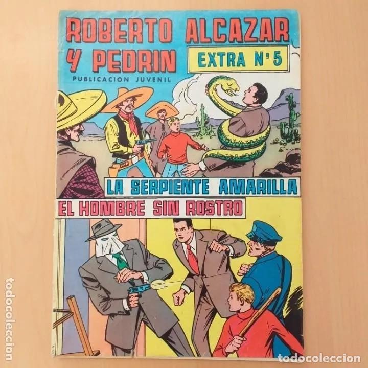 ROBERTO ALCAZAR Y PEDRIN - LA SERPIENTE AMARILLA + EL HOMBRE SIN ROSTRO. EXTRA NUM 5 (Tebeos y Comics - Valenciana - Roberto Alcázar y Pedrín)