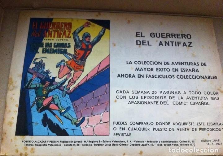 Tebeos: ROBERTO ALCAZAR Y PEDRIN, NÚMERO 1048, OCTUBRE DE 1972. EDITORIAL VALENCIANA ORIGINAL - Foto 2 - 213678697