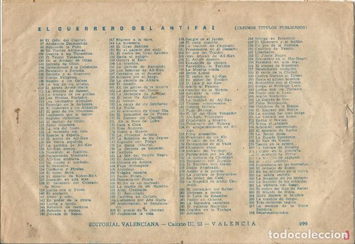 Tebeos: TEBEO EL GUERRERO DEL ANTIFAZ EDITORIAL VALENCIANA Nº 299 - Foto 2 - 218863815