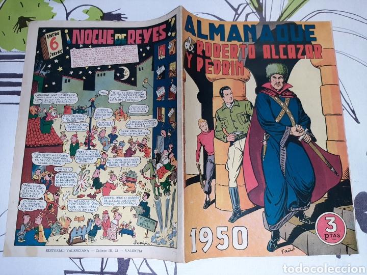 Tebeos: Almanaque de Roberto Alcázar y Pedrín para 1950, original y como nuevo - Foto 2 - 222376671